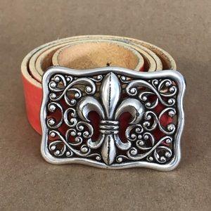 Red Tobacco Road Leather Belt Fleur De Lis Buckle